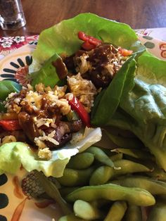 Asian lettuce Wraps with Edamame. Soooo good.