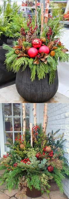 24 Colorful Winter Planters Christmas Outdoor Decorations How To Create Colorful Winter Outdoor Planters And Beautiful Christmas Planters With Plant Cuttings And Decorative Elements That Last For A Long Time A Piece Of Rainbow Outdoor Christmas Planters, Christmas Urns, Outdoor Planters, Outdoor Christmas Decorations, Rustic Christmas, Winter Christmas, Christmas Home, Christmas Wreaths, Christmas Crafts