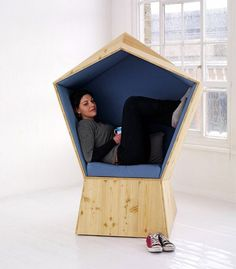 Pentagonal-shaped Chair for Your Personal Space – Quiet Chair - The Great Inspiration for Your Building Design - Home, Building, Furniture and Interior Design Ideas Nachhaltiges Design, Chair Design, Interior Design, Modern Furniture, Furniture Design, Office Furniture, Smart Furniture, Mini Loft, Personal Space