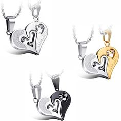 "JewelryWe Valentine Day Gifts 2pcs His and Hers Matching Stainless Steel ""I Love You"" Heart Pendant Necklace Set for Couple – Colors Selectable 