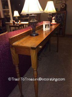 Trash to Treasure Decorating: Repurposed Piano Parts - A Beautiful Sofa Table