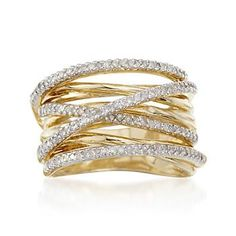 """.50 ct. t.w. Diamond """"Highway"""" Ring in 18kt Gold Over Sterling Silver"""