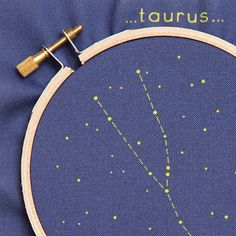 Make your own Taurus constellation or give a personalized diy gift perfect for birthdays, the holidays, crafters and those new to embroidery but