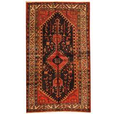 Herat Oriental Persian Hand-knotted Tribal Hamadan Black/ Ivory Rug