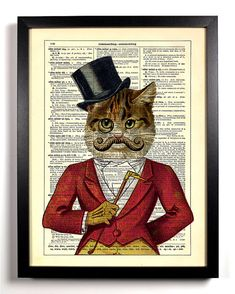 Casanova Cat With Monocle and Top Hat and Mustache Upcycled Dictionary Vintage Book Art Print