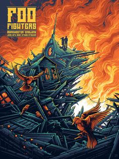 Screenprint for the Foo Fighters and their June 2018 show in Manchester at the Etihad. Rock Posters, Band Posters, Concert Posters, Foo Fighters Poster, Dan Mumford, Westerns, Poster Art, Gig Poster, Dark Ink