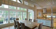 Tuomenkukka, omakotitalot Terrace Design, Nordic Home, Cottage Farmhouse, Log Homes, My Dream Home, Home Projects, Beautiful Homes, Pergola, Sweet Home