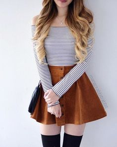 44 Cool Girly Outfit Ideas For Spring - Emilia Fleming Cute Skirt Outfits, Cute Teen Outfits, Cute Outfits For School, Cute Summer Outfits, Teen Fashion Outfits, Cute Fashion, Look Fashion, Pretty Outfits, Fashion Clothes