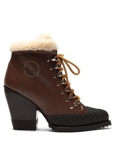 Shearling-lined leather ankle boots Shoes from top store Black Leather Heels, Brown Leather Boots, Black Heels, Yellow And Brown, Black Rubber, Fashion Advice, Designing Women, Paris Fashion, Heeled Boots