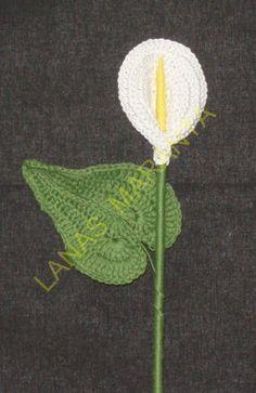 CALA DE GANCHILLO  INSTRUCCIONES PASO A PASO 1º - LA HOJA ... Crochet Flowers, Free Knitting, Knitted Hats, Dandelion, Free Pattern, Lily, Baby Shower, Craft, Crochet Cactus