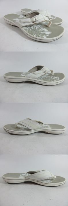 Sandals and Flip Flops 62107: Clarks Breeze Sea White Flip Flop Thong Sandals Women S Size 9 -> BUY IT NOW ONLY: $31.45 on eBay!