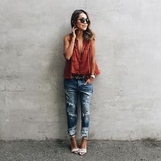 red shirt + ripped jeans