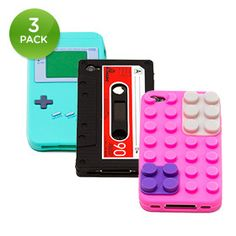 3-Pack: Silicone iPhone 4, 4S & 5 Case Throwback Pack FUCKING AWESOME.