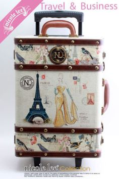 $175 eBay -Nicole Lee hard-shell vintage travel luggage. I'm really so obsessed/in love with this suitcase if only I had the $175 to spend...
