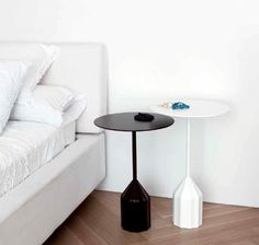 Viccarbe Burin table - next to the occasional chair in the bedroom