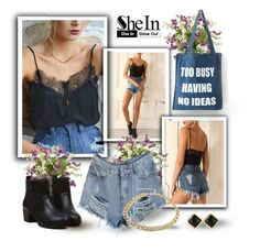 """""""The Ripped Denim Shorts - Shein.com"""" by mary-gereis ❤ liked on Polyvore featuring Nearly Natural and shein"""