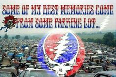 Truth to the nth power! Or a parking lot doubling as an impromptu campground...