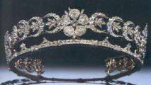 British Royal Jewels: The Teck Crescent Tiara, c.1866. This diamond diadem, featuring three wild roses separated by 20 crescent shapes, was assembled by Mary Adelaide from various jewels she inherited from her aunt, Princess Mary, Duchess of Gloucester.