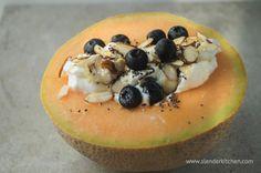 Healthy Breakfast Cantaloupe with Yogurt | Slender Kitchen