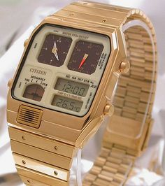 Citizen Gold Tone, 1981 Retro Watches, Old Watches, Vintage Watches, Watches For Men, Golden Watch, Apple Watch Wallpaper, Citizen Watch, Beautiful Watches, Smartwatch