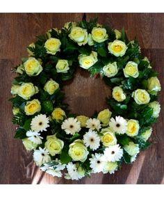 Coroana trandafiri galbeni si minigerbera. Funeral Bouquet, Floral Wreath, Wreaths, Decor, Floral Crown, Decoration, Door Wreaths, Deco Mesh Wreaths, Decorating