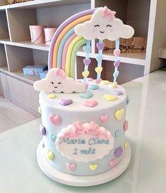 Wunderschöner Kuchen mit dem Thema Regen der Liebe! Bildnachweis: @ladocicadoces #FestainChildren #CustomCake #CakePersonalized #CakeChuvadeAmor - #BabyKuchen