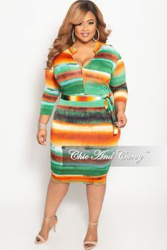 3ef4aca92df Plus Size Stripe Long Sleeve BodyCon Dress with Attached Tie– Chic And Curvy