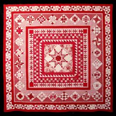 Red Rendition of Sue Garman's Washington Medallion quilt.  2014 Houston International Quilt Festival