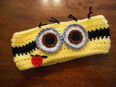 Yellow Minion Earwarmer eyes- 12 months to Adult Crochet Fall, Crochet Baby Hats, Crochet For Kids, Knit Crochet, Crochet Headbands, Minions, Minion Hats, Loom Knitting, Knitting Patterns