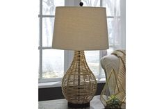 2 Handcrafted Wicker Dual Sided Lamps
