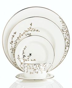 kate spade new york Dinnerware, Gardner Street Platinum 5 Piece Place Setting - kate spade new york - Dining & Entertaining - Macy's
