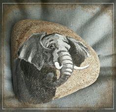 Painted rock,  Elephant