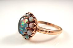 ANTIQUE 2ct OPAL RING 10k Gold 1960's Natural Opal by TnBCdesigns