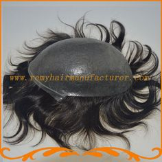 Super thin skin toupee base size8*10inch The thickness of 0.4~0.6mm v-loop knot Indian remy hair men piece pu toupee