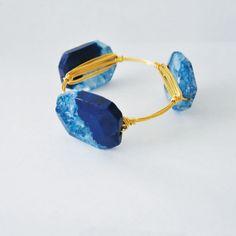 Blue Indigo Agate Gemstone Bangle by duo4all on Etsy, $45.00