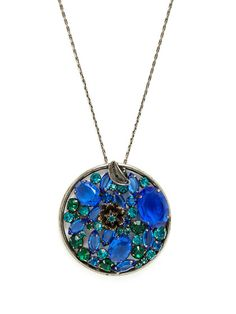 Teal & Sapphire Glass Pendant Necklace by House of Lavande at Gilt