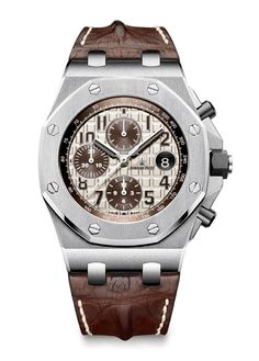 Ref. 26470ST.00.A801CR.01, with steel case, ivory-toned dial, brown counters, brown numerals, white-gold hands, brown inner bezel, and brown alligator strap ($26,000)
