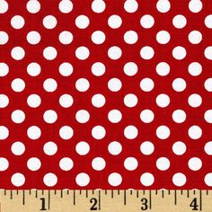 Riley Blake Dots Small Red from @fabricdotcom  From Riley Blake Designs, this fabric is perfect for quilting, apparel, craft projects and home decor accents. Colors include white dots on a red background.