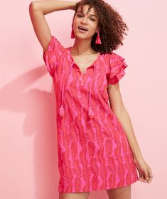 Shop Embroidered Palm Vineyard Tunic Dress at vineyard vines Vineyard Vines Women, Double Ruffle, Palm, Wrap Dress, Cover Up, Short Sleeve Dresses, Tunic, Clothes For Women, Casual