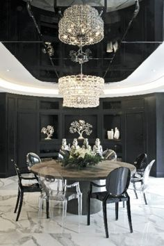 Black lacquered ceiling, black & clear ghost chairs
