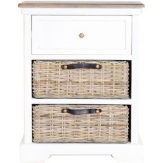A stylish, elegant addition to any home decor, this table is made from reclaimed teak wood. With a functional drawer and two additional wicker baskets for extra storage, this accent table is great for stowing personal treasures.