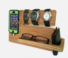 Furniture Captivating Iphone Wood Docking Station Smartphone Gadget Accessories Birch Plywood Material Natural Finish Functional Slot And Tray Watches Eyeglases Wallet Holder Desk And Home Office Fuirniture Cool Wood iPhone And Android Docking Station