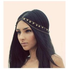 Bohemian Disc Charm Crown Headpiece ($12) ❤ liked on Polyvore featuring accessories, hair accessories, hair, bohemian hair accessories and boho hair accessories