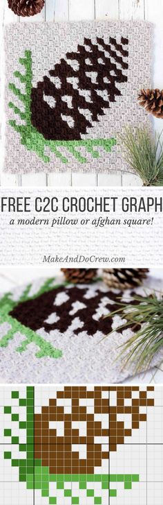 Add a touch of warmth with this free c2c crochet pinecone pattern. Use it as part of a modern Christmas afghan or let it stand alone as a rustic, cozy pillow.