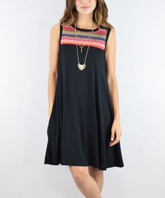 Another great find on #zulily! Black Zig-Zag Sleeveless Shift Dress #zulilyfinds