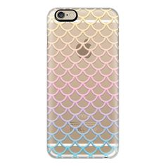 iPhone 6 Plus/6/5/5s/5c Case - Pastel Mermaid Scales Transparent ($40) ❤ liked on Polyvore featuring accessories, tech accessories, iphone case, slim iphone case, apple iphone cases, iphone cover case and transparent iphone case