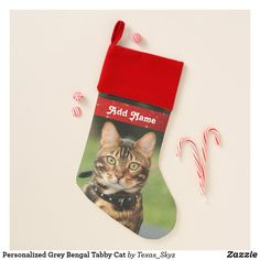 Personalized Grey Bengal Tabby Cat Christmas Stocking Christmas Animals, Christmas Cats, Pet Christmas Stockings, Santa Claus Is Coming To Town, Christmas Card Holders, Bengal, Pets, Holiday Decor, Grey