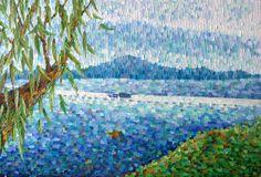 Original painting - Beach landscape 'Coastal no.4' 20x30 commission. Seascape, boat, blue, ultramarine, cobalt.