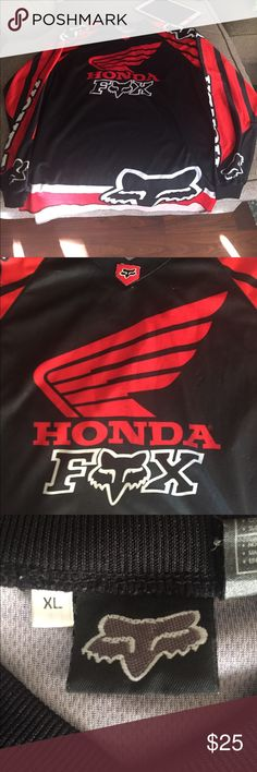 Fox racing Honda jersey Size xl used has some pulled threads and some wear but tons of life left! Fox Shirts Tees - Long Sleeve