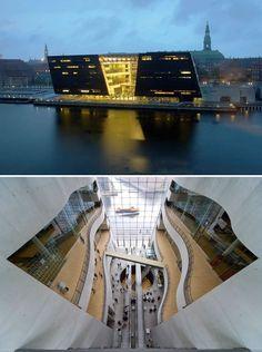 The Royal Danish Library (the Black Diamond), designed by Schmidt, Hammer & Lassen, Copenhagen, Denmark.
